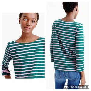 J Crew Sailor Stripe Boatneck T-Shirt